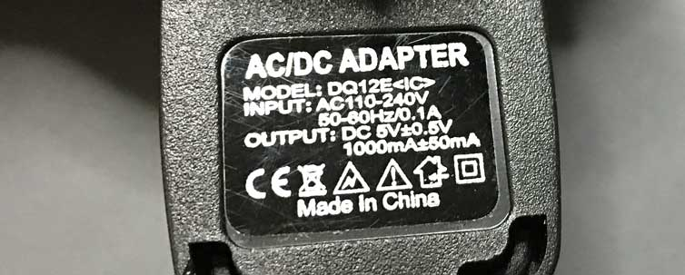 110V~240V to 5V AC adapter