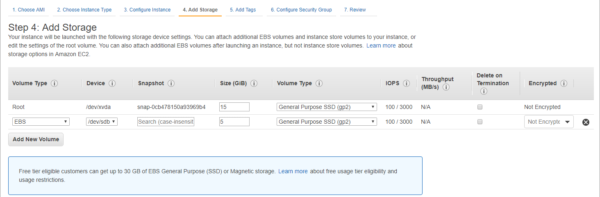 Add EBS storage to the EC2 instance