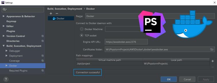 Connect PhpStorm to a Docker Daemon over HTTPS on AWS