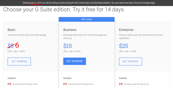 G Suite pricing for custom email