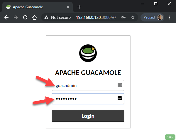 Login to Guacamole on the RPi