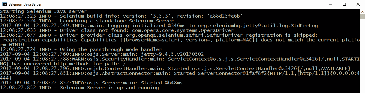 Selenium Java Server up and running