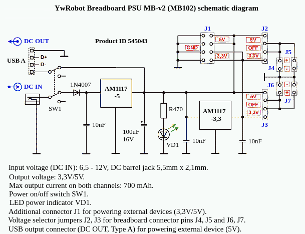 MB102 breadboard power supply schematic