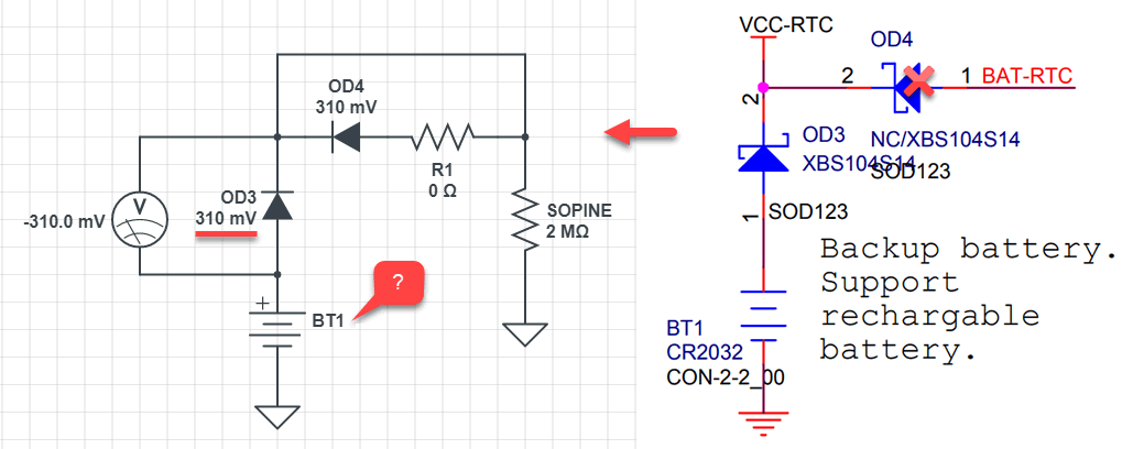 RTC OD3 diode voltage schematic