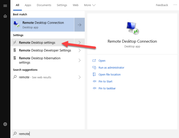 Open Remote Desktop Settings