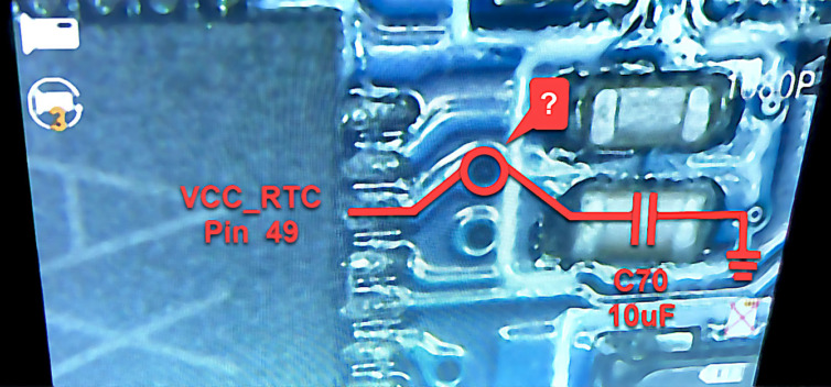 SOPINE PCB top near the PMIC and VCC_RTC pin