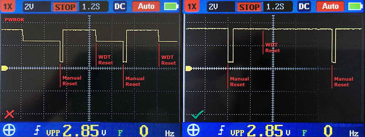 PWROK clusterboard voltage during reset. Left: no RTC battery. Right: Normal and RTC battery